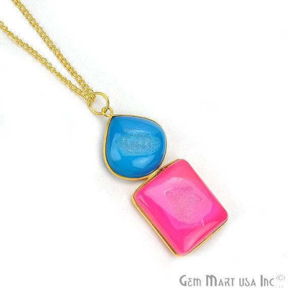 Pink and Blue Druzy Gemstone 22k Gold Plated Boho Necklace