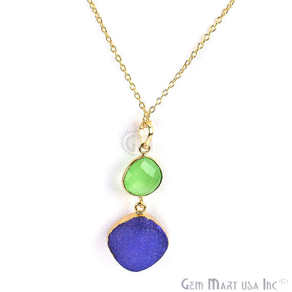Green Chalcedony with Blue Druzy Pendant Necklace 22k Gold Plated Necklace Chain Pendant