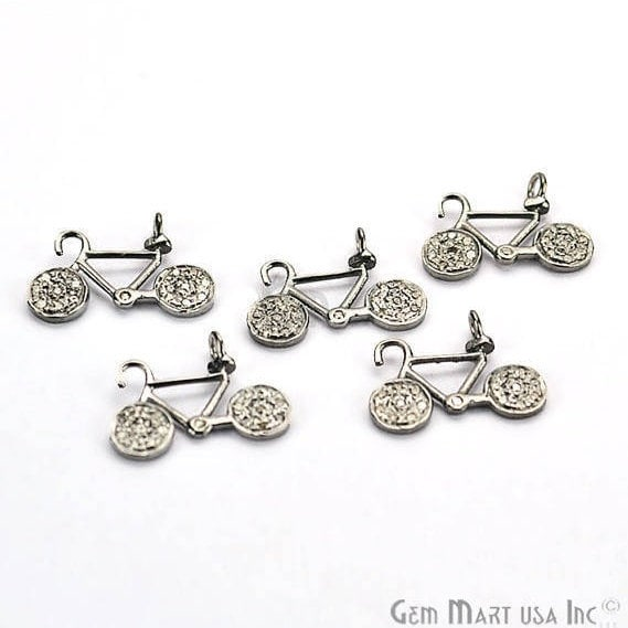 Bicycle Shape 12x16mm Diamond Charms Pave Single Bail Sterling Silver Charm for Bracelet & Pendants