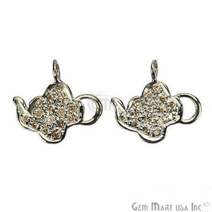 Tea Pot Shape 12x11mm Diamond Pave Single Bail Sterling Silver Charm for Bracelet & Pendant - GemMartUSA