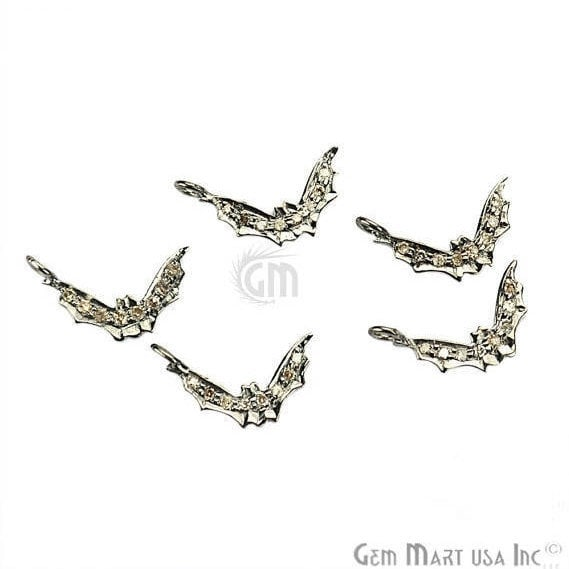 Bat Shape 13x3mm Diamond Charms Pave Single Bail Sterling Silver Charm for Bracelet Pendants & Necklace (NDCH-40008)