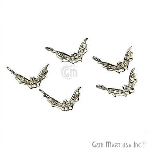 Bat Shape 13x3mm Diamond Charms Pave Single Bail Sterling Silver Charm for Bracelet & Pendants