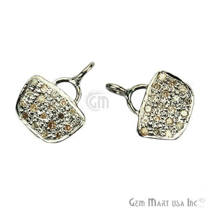 Purse Shape 12x9mm Diamond Pave Single Bail Sterling Silver Charm for Bracelet & Pendants