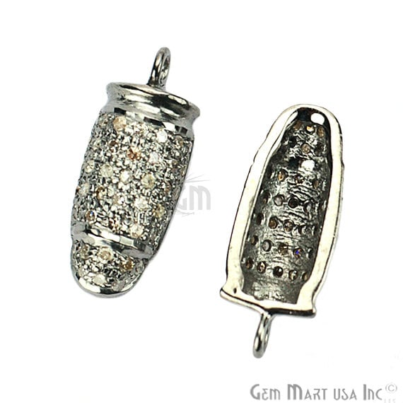 Bullet Shape 18x7mm Diamond Charms Pave Single Bail Sterling Silver Charm for Bracelet Pendants & Necklace