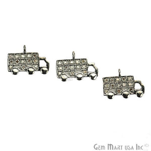 Truck Shape Diamond Charms Pendant, 15x10mm 925 Sterling Silver Pave Charms Pendant