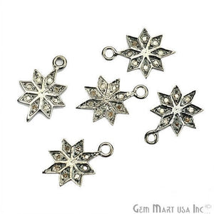 Star Shape Diamond Charms Pendant, 15x11mm 925 Sterling Silver Pave Charms Pendant