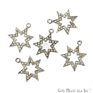 Star Shape Diamond Charms Pendant, 19x16mm 925 Sterling Silver Pave Charms Pendant - GemMartUSA