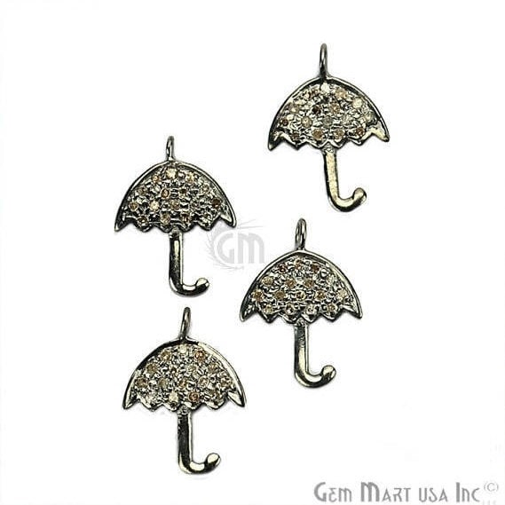 Umbrella Shape Diamond Charms Pendant, 15x11mm 925 Sterling Silver Pave Charms