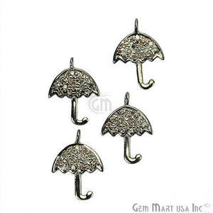 Umbrella Shape Diamond Charms Pendant, 15x11mm 925 Sterling Silver Pave Charms - GemMartUSA