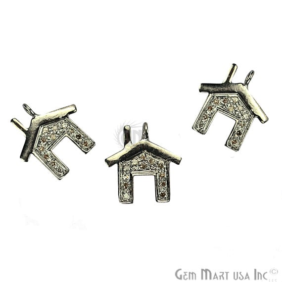 Home Shape Diamond Charms Pendant, 13x9mm 925 Sterling Silver Pave Charms Pendant
