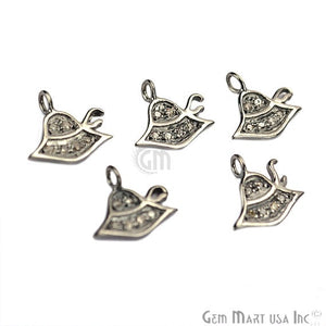 Hat Shape Diamond Charms Pendant, 10mm 925 Sterling Silver Pave Charms Pendant - GemMartUSA