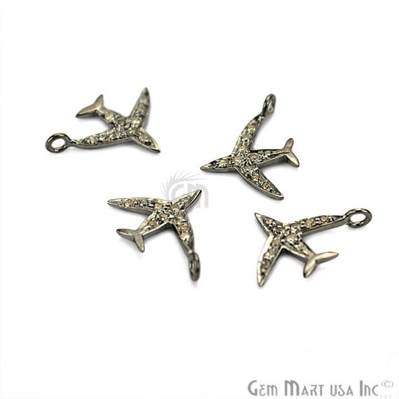 Aeroplane Shape Diamond Charms 14x11mm 925 Sterling Silver Pave Charms Pendant
