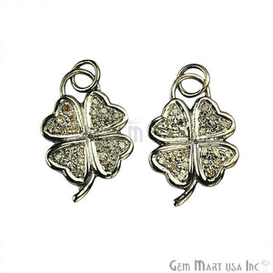 Flower Shape Diamond Charms Pendant, 21x15mm 925 Sterling Silver Pave Charms Pendant