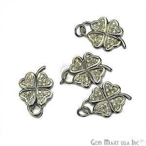 Flower Shape Diamond Charms Pendant, 21x15mm 925 Sterling Silver Pave Charms Pendant - GemMartUSA