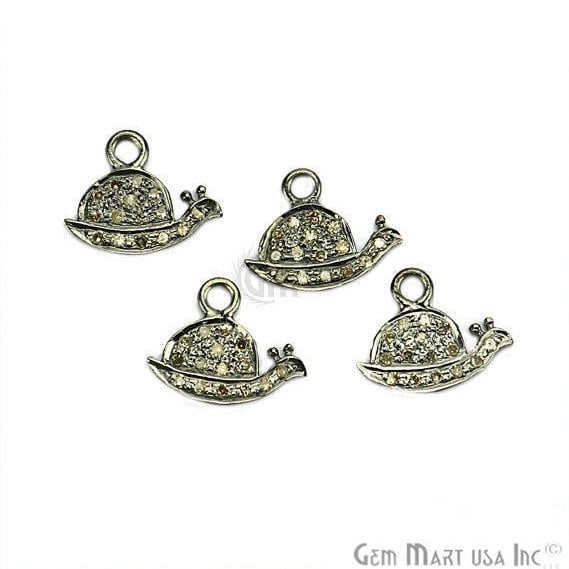 Snail Shape Diamond Charms Pendant, 12x9mm 925 Sterling Silver Pave Charms Pendant