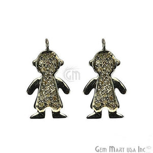Little Boy Shape Diamond Charms Pendant, 20x11mm 925 Sterling Silver Pave Charms Pendant