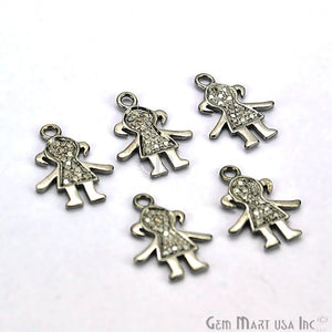 Little Girl Shape Diamond Charms Pendant, 16x12mm 925 Sterling Silver Pave Charms Pendant - GemMartUSA