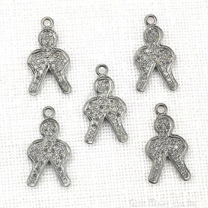 Boy shape diamond charms pendant, 19x10mm 925 sterling silver pave charms pendant