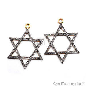 Star of David Diamond Charm Pendant, Gold Vermeil Pave charm Necklace Pendant - GemMartUSA