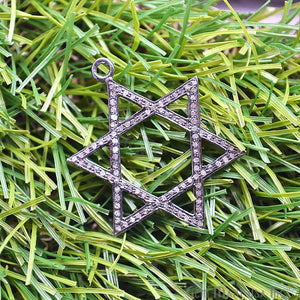 Star of David Diamond Charm Pendant, Sterling Silver Pave charm Necklace Pendant - GemMartUSA