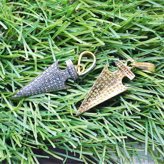 Arrow Head Pave Diamond Charm Pendant, Gold Vermeil Necklace Pendant