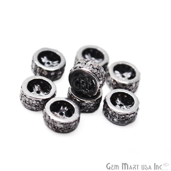 Pave Wheel Spacer Diamond Charm Beads, Sterling Silver Necklace Charm Beads