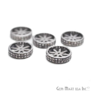 Pave Wheel Spacer Diamond Charm Beads, Sterling Silver Necklace Charm Beads - GemMartUSA