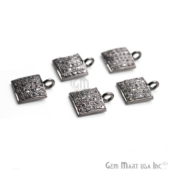Pave Square Diamond Charm, Sterling Silver Necklace Charm Beads