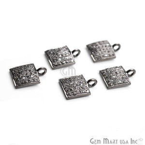 Pave Square Diamond Charm, Sterling Silver Necklace Charm Beads - GemMartUSA
