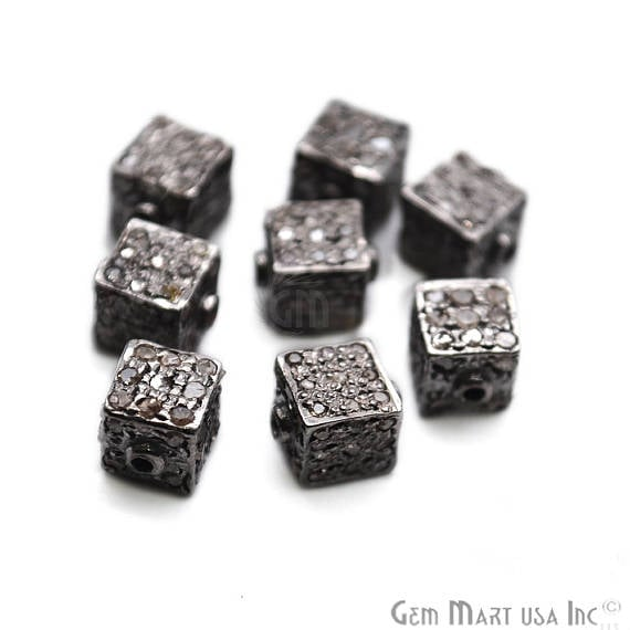 Pave Cube Diamond Charm Beads, Sterling Silver Necklace Charm Beads