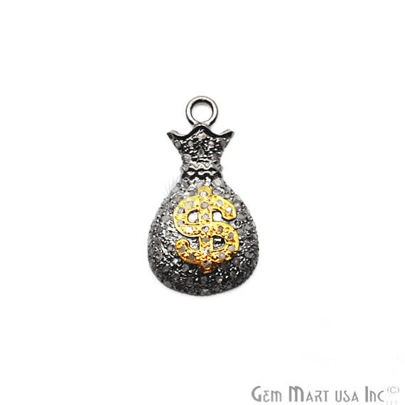 Pave Money Bag Diamond Charm Pendant, Sterling Silver Necklace Charm Pendant