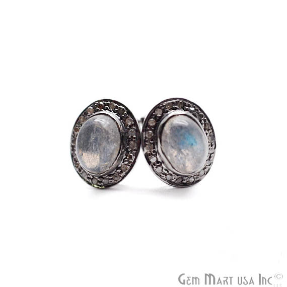 Pave Sterling Silver Labradorite Gemstone Diamond Studs Earrings