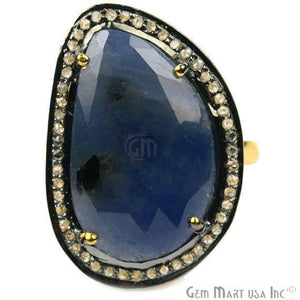 Sapphire with Diamond Pave Ring, 925 Sterling Silver Gold Vermeil Adjustable Gemstone Ring (NDRG-12003)