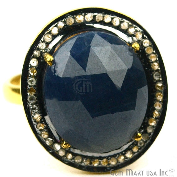 Sapphire with Diamond Pave Ring, 925 Sterling Silver Gold Vermeil Adjustable Gemstone Ring (NDRG-12005)