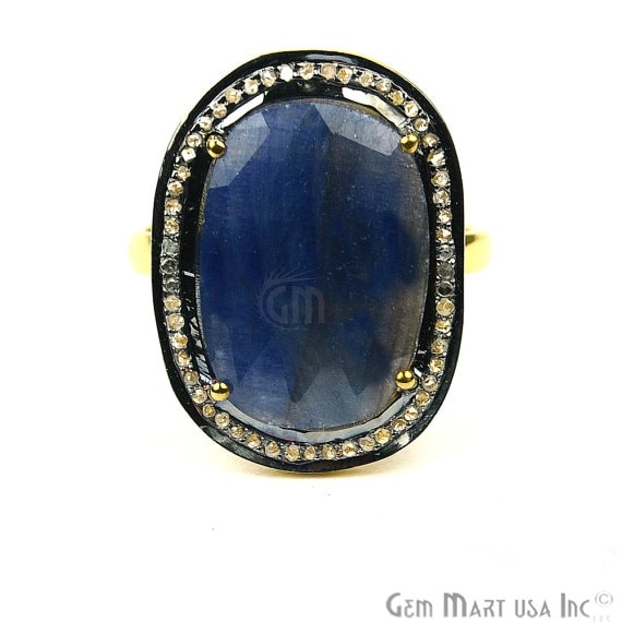 Sapphire with Diamond Pave Ring, 925 Sterling Silver Gold Vermeil Adjustable Gemstone Ring (NDRG-12010)