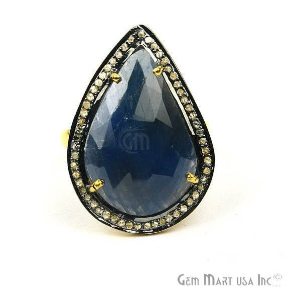Sapphire with Diamond Pave Ring, 925 Sterling Silver Gold Vermeil Adjustable Gemstone Ring (NDRG-12012)