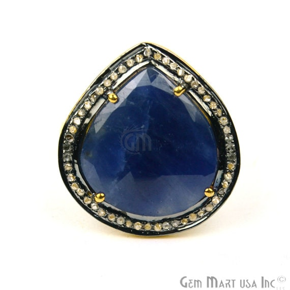 22k Gold Vermeil Sapphire with Diamond Pave Ring, 925 Sterling Silver Sapphire Cut Sapphire Gemstone Ring Gemmartusa (NDRG-12013)