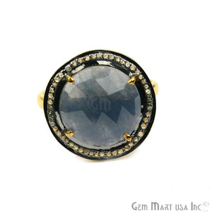 Sapphire with Diamond Pave Ring, 925 Sterling Silver Gold Vermeil Adjustable Gemstone Ring (NDRG-12014)