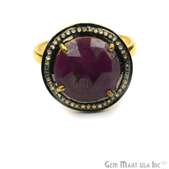 Sapphire with Diamond Pave Ring, 925 Sterling Silver Gold Vermeil Adjustable Gemstone Ring (NDRG-12016)