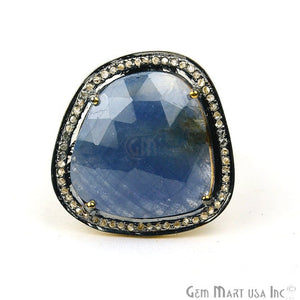 Sapphire with Diamond Pave Ring, 925 Sterling Silver Gold Vermeil Adjustable Gemstone Ring (NDRG-12027)