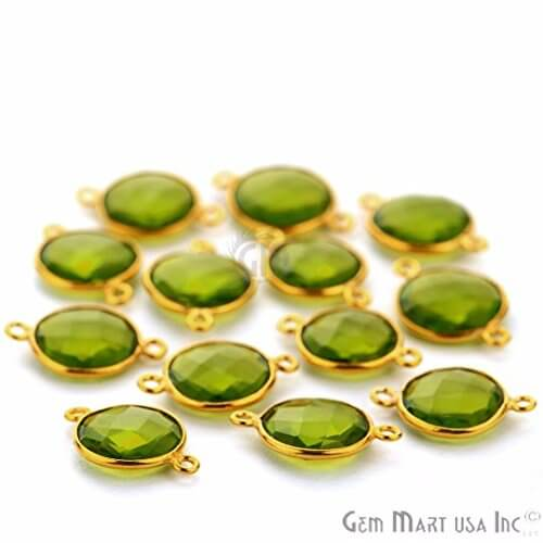 Peridot Round Shape 12mm Gold Plated Double Bail Bezel Gemstone Connector