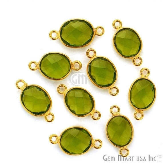 Peridot Oval Shape 9x11mm Gold PlatedDouble Bail Gemstone Bezel Connector