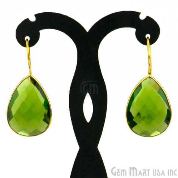 Peridot 19x42mm Gold Plated Gemstone Dangle Earrings