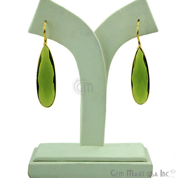 Peridot 50x11mm Gold Plated Gemstone Dangle Earrings