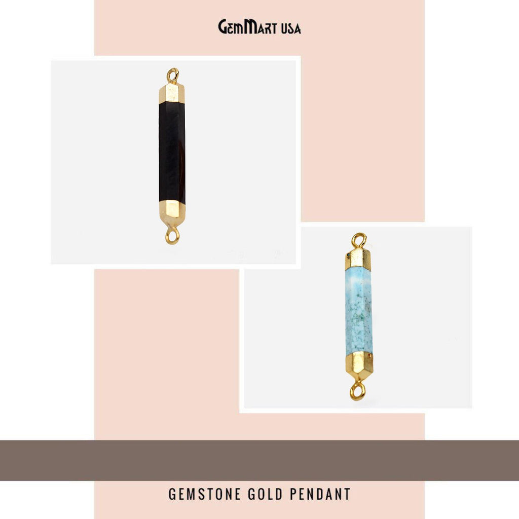 Gemstone Connector 44x6mm Gold Plated, Double Point Bail Connectors (CHPR)