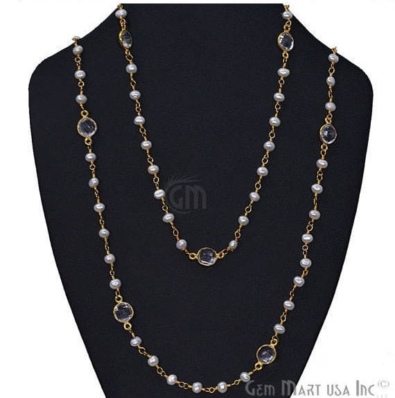 Pearl Necklace With Crystal Chain, 30 Inch Gold Plated Beaded Finished Necklace Jewellery