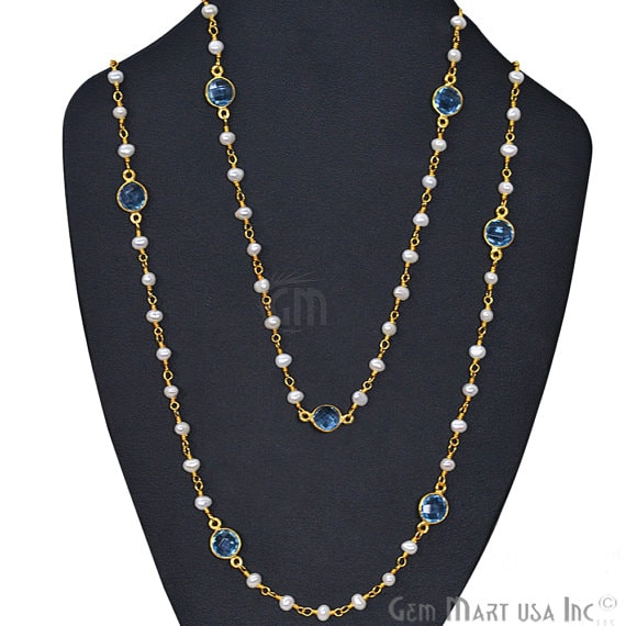 Pearl Necklace With Blue Topaz Chain, 30 Inch Gold Plated Beaded Finished Necklace
