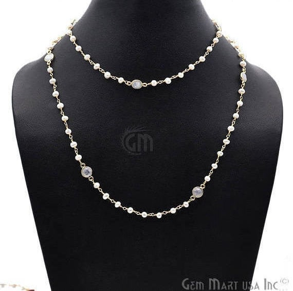 Pearl 3-3.5mm Necklace With Rainbow Connectors, 30Inch Finished Gold Plated Rosary Necklace Chain