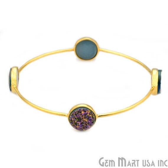 Natural Purple Druzy 12mm Round Adjustable Interlock Gold Plated Bangle Bracelet