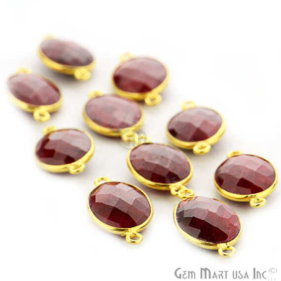 Natural Ruby Oval Shape 10x14mm Gold Plated Double Bail Gemstone Bezel Link Connector